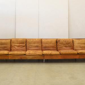 Custom made cognac sofa manner of Florence Knoll 25BC Interior Aksel Design Buy Sell London Paris