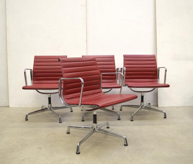 Vitra EA108 Alu Chair Eames Red Leather Interior Aksel Design Furniture Buy Sell Paris London